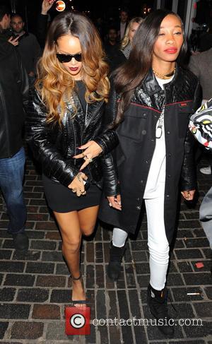 Rihanna and Cara Delevingne - Rihanna and Cara Delevingne party together at The Box club at London Fashion Week -...