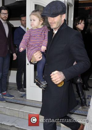 David Beckham and Harper Beckham - The Beckham family leaving a London entertainment venue at Heart Radio - London, United...