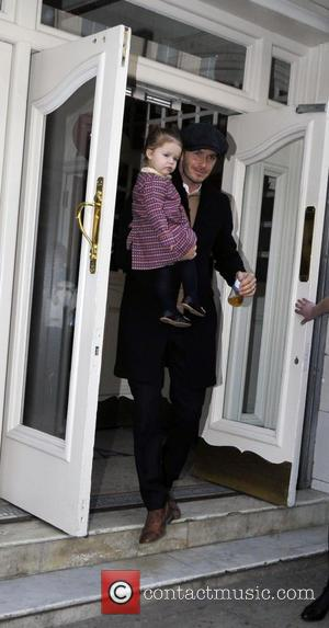 David Beckham and Harper Beckham - The Beckham family leaving a London entertainment venue - London, United Kingdom - Monday...