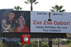 Prince Frederic von Anhalt and Zsa Zsa Gábor - Prince Frederic von Anhalt dedicates a billboard to his wife Zsa...