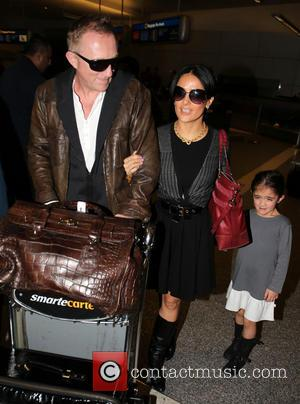 Salma Hayek, François-Henri Pinault and Valentina Paloma Pinault - Salma Hayek and family arrive at LAX airport - Los Angeles,...