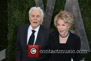 Kirk Douglas and Anne Buydens - 2013 Vanity Fair Oscar Party at Sunset Tower - Arrivals - Los Angeles, California,...