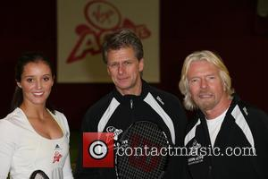 Laura Robson, Richard Branson and Andrew Castle