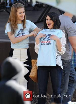 AnnaLynne McCord and Shenae Grimes - Celebrities on the set of the hit tv show 'Beverly Hills 90210' - Los...