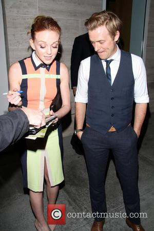 Jayma Mays and Adam Campbell - Celebrities at the Paley Center In Beverly Hills - Los Angeles, California, United States...