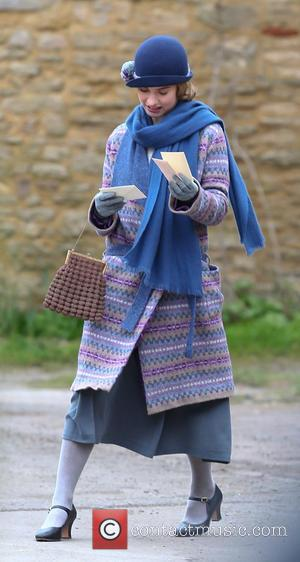 Lily James and Lady Rose MacClare - 'Downton Abbey' filming for the new series in Oxfordshire - Oxfordshire, United Kingdom...