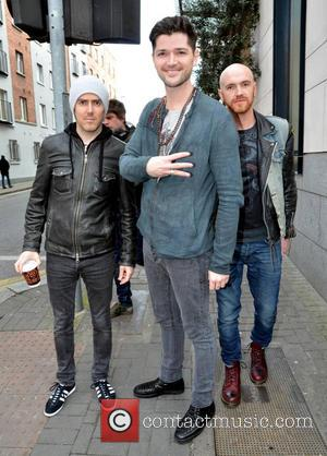 Danny O'Donoghue, Mark Sheehan, Glen Power and The Script - The Script leaving the Morrison Hotel ahead of their concert...