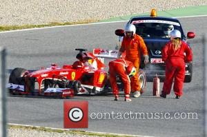 Felipe Massa of Brazil lost a front wheel and had to be towed - Formula 1 test session at Montmelo...