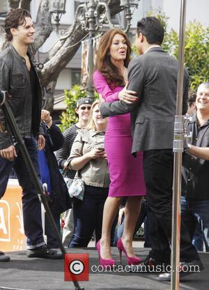 Lisa Vanderpump, Gleb Savchenko and Mario Lopez - Celebrities at The Grove to appear on entertainment news show 'Extra' -...