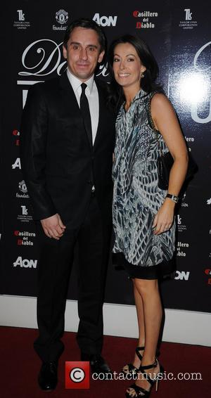 Gary Neville and Emma - 'Dancing with United' at The Point Old Trafford Cricket Ground - Arrivals - Manchester, United...