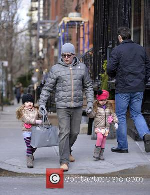 Matthew Broderick, Marion and Tabitha - Matthew Broderick takes his twin daughters to school - Manhattan, NY, United States -...