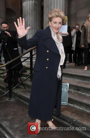 Patricia Hodge - The BT Red Nose Challenge: Miranda's Mad March - Finish - held at Westminster Register Office -...