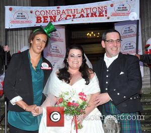 Bride Claire Gilchrist With Father and Miranda Hart