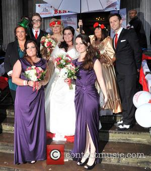 Miranda Hart, Tom Fletcher, Jennifer Saunders, Bride Claire Gilchrist, Dawn French and Harry Judd