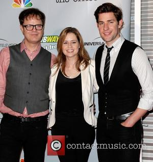 Rainn Wilson, Jenna Fischer and John Krasinksi - 'The Office' series finale wrap party at Unici Casa - Arrivals -...