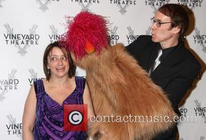 Rachel Dratch poses with Trekkie Monster and Rick Lyon - Vineyard Theatre's 30th Anniversary Gala held at the Edison Ballroom...