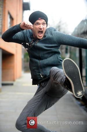 Danny O'Donoghue from Irish rock group The Script jump kicks outside the band's hotel - Manchester, United Kingdom - Tuesday...