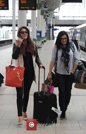 Brooke Vincent and Kym Marsh - Celebrities at Manchester Train Station returning after last nights RTS awards in London -...