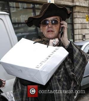 Steve Strange - Steve Strange wearing a large hat and cape, outside BBC Radio 2 studios. According to a photographer,...