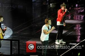 One Direction, Niall Horan and Harry Styles - One Direction performing in concert at the LG Arena - Birmingham, United...
