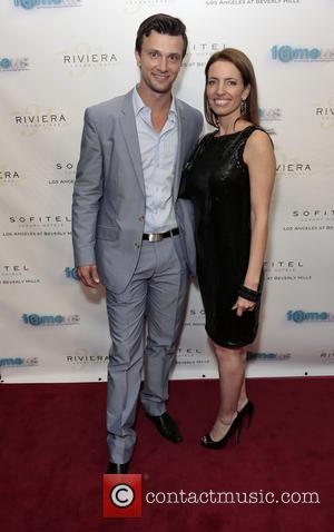 Kent Speakman and Jessica Sitomer - The red carpet launch party for 'Fameus' Smart Phone App at Sofitel Hotel -...
