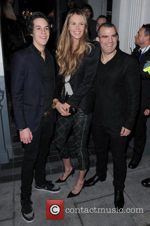 Elle Macpherson, Arpad Busson and Barry The Dog Jogger