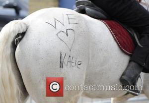 Katie Price and 'we Love Katie' Is Written On A Horse