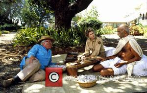 Richard Attenborough - Shown on the set, from left: director Richard Attenborough, Candice Bergen, Ben Kingsley (as Mahatma Gandhi) -...