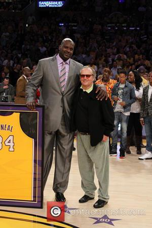 Jack Nicholson and Shaquille O'Neal - Celebrities attend the Los Angeles Lakers vs Dallas Mavericks NBA basketball game at the...