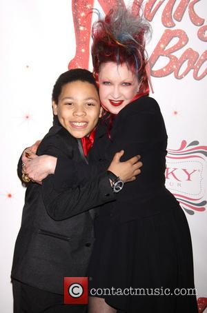 Marquise Neal and Cyndi Lauper - The Broadway opening night after party for 'Kinky Boots' at the Marriott Marquis Hotel...
