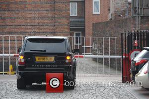Ryan Thomas car - Ryan Thomas's car appears to be dameaged as he arrives at the Coronation Street set at...