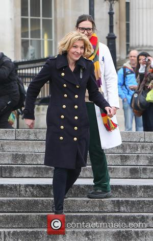 Jemma Redgrave - The cast of Doctor Who film the 50th anniversary special in Trafalgar Square - London, United Kingdom...