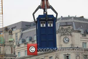 TARDIS - The cast of Doctor Who film the 50th anniversary special in Trafalgar Square - London, United Kingdom -...