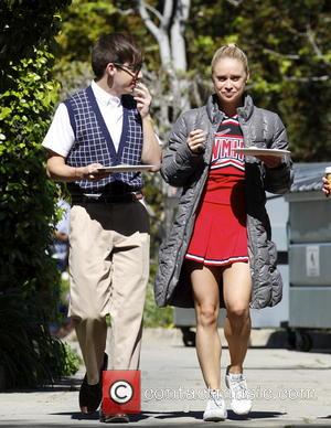 Kevin McHale and Becca Tobin - Kevin McHale and Becca Tobin on the film set of 'Glee' filming on location...