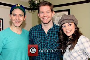 Santino Fontana, Rory O'Malley and Laura Osnes - Backstage at the musical CINDERELLA at the Broadway Theatre - New York,...