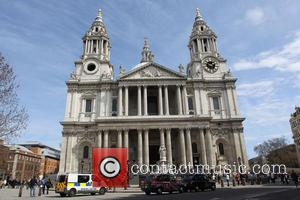 St Paul's Cathedral - Exterior views of buildings that will be passed by Baroness Margaret Thatcher's funeral procession. The route...