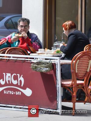 Michael Musto - Village Voice writer Michael Musto seen having lunch at JACK Bistro & Bar with a friend in...