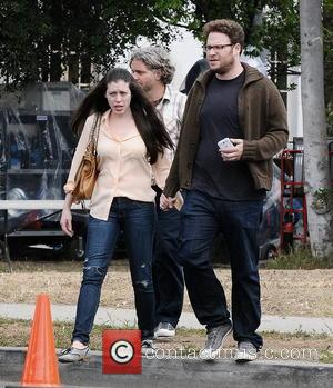 Seth Rogen and Lauren Miller - Actor Seth Rogen gets a surprise visit on his birthday from his wife Lauren...