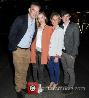 Tim Dynevor, Sally Dynevor, Phoebe Dynevor and Samuel Dynevor - Sally Dynevor and her family leave Australasia restaurant after a...