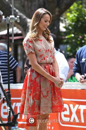 Stacy Keibler - Stacy Keibler is seen at the Grove for an interview with Mario Lopez for television show Extra....