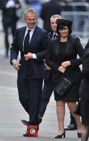 Tony Blair and wife Cherie Booth - Guests Leave St Paul's Cathedral in central London, after the funeral of Margaret...