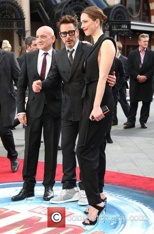 Sir Ben Kingsley, Robert Downey Jr and Rebecca Hall