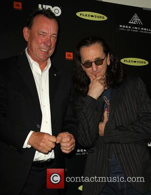 Neil Peart and Geddy Lee - 28th Annual Rock and Roll Hall Of Fame Induction Ceremony - Press Room -...