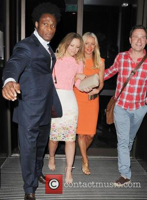 Kimberly Walsh, Denise van Outen and Richard Arnold - Celebrities leaving Thames Street Kitchen - London, United Kingdom - Thursday...