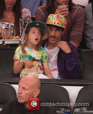 Anthony Kiedis and Everly Bear Kiedis - Celebrities watch the Los Angeles Lakers play the San Antonio Spurs during the...
