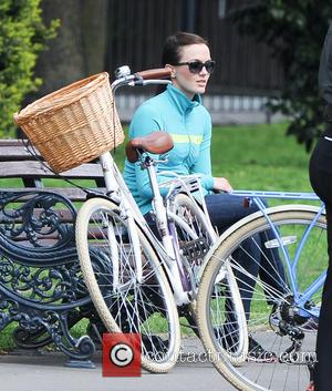 Victoria Pendleton - Olympic champion Victoria Pendleton CBE seen riding her bike whilst being filmed through Victoria Park in East...