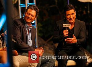 Blake Shelton and Mario Lopez - The US coaches of the Voice at The Grove to appear on entertainment news...