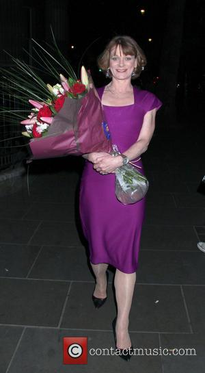 Samantha Bond - Celebrities leaving the 'Passion Play' at the Duke of York Theatre - London, United Kingdom - Tuesday...