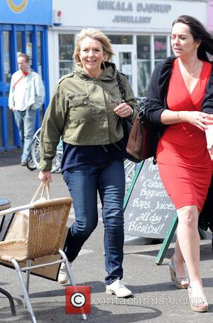 Fern Britton - Fern Britton leaving a restaurant on the South Bank - London, United Kingdom - Thursday 9th May...