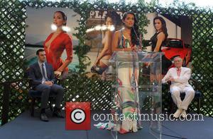 Hugh Hefner, Raquel Pomplun and Cooper Hefner